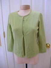 ETCETERA PALE GREEN COTTON CARDIGAN SWEATER EMBELLISHED TOP ize S NEW $185