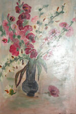 Vintage Still Life with flowers oil painting signed