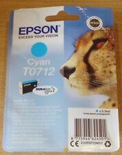 Genuine EPSON T0712 TO712 Cartucho cian (azul) 'Vac Sellado Original Cheetah Tinta