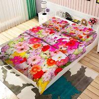 3D Bright Flower Bed Pillowcases Quilt Duvet Cover Set Single Queen King Size AU
