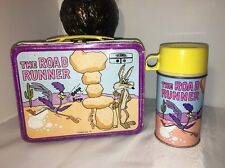WOW!!Vintage 1970's The Road Runner Metal Lunchbox W/ Thermos