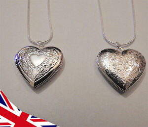 Silver Heart Locket - Floral Flowery - Valentines Mothers Day Anniversary - UK