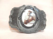 Vtg Horse Head Belt Buckle Ceramic Cameo Medallion w/Horse Shoe & Scrollwork