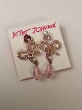 Betsey Johnson Rose Gold Tone Bow & Crystal Stud Earrings Mismatch $38 #E21