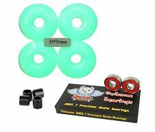 Blank Pro 52mm 99a Glow In The Dark Skateboard Wheels + Owlsome ABEC 7 Bearings