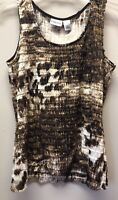 Chico's Size 1 Womens M Brown Animal Print Sleeveless Stretch Tiered Top Tank