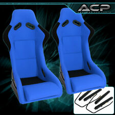 Universal Jdm Blue Black Cloth Non Reclinable Racing Bucket Seat Pair Sliders Fits Seat
