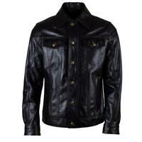 TRUCKER Denim SHIRT New Mens WAXED Black Soft Real Western Leather Rock Jacket