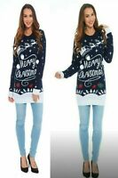 New Women's Ladies Merry Christmas Novelty Knitted Midi Tunic Jumper dress