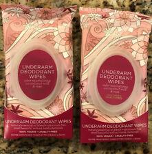 2 Pacifica Rose Underarm Deodorant Wipes 30ct Each Sealed