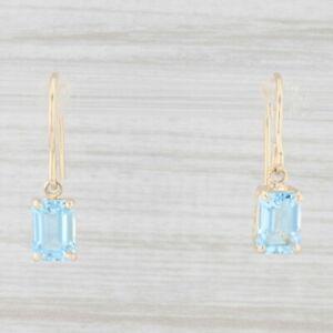 2.10ctw Blue Topaz Drop Earrings 14k Yellow Gold Pierced Hook Posts