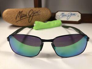 Maui Jim Shoal MJ 797-02F Brushed Gunmetal Sunglasses Maui Green Polarized Lens