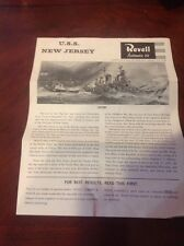 Revel USS New Jersey Model Kit Plans Only.  Vintage 1965