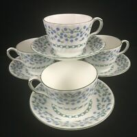 Set of 4 VTG Cups and Saucers Aynsley Forget Me Not Blue Floral Bone England