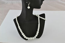"Gorgeous 16"" Glass White Pearl Bead  Necklace, Bracelet & Earrings Set"