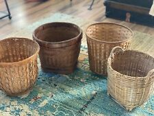 New ListingLot Vintage Rattan, Bamboo, Wicker Hand Crafted Basket Planters, Boho Planters