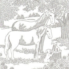 Vintage Embroidery Picture Pattern ~ Horse, Mare, puppies under a tree
