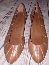 Fancy Steps Almond Toe Brown Ballerina Flats Size 7 B Made In Brazil Vintage