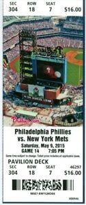 2015 Phillies vs Mets Ticket:  Jonathon Niese win/Juan Lagares HR