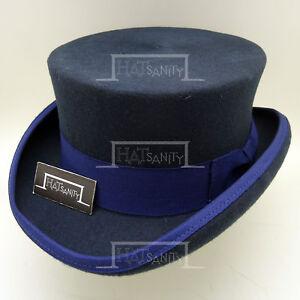 VINTAGE Wool Felt Men Top Hat Topper Coachman Gentlemen Tuxedo | Navy | M L XL