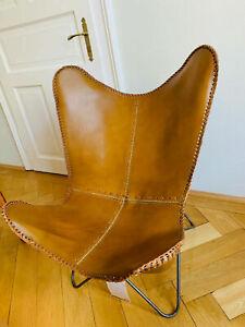 Handmade Buffalo Ten Leather Butterfly Chair Lounge Relax Arm Chair Home Décor