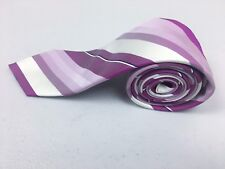 Hugo Boss 100% Silk Tie- Pink/ Purple/ White Diagonal Thick Stripes (used)