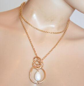 COLLANA LUNGA donna oro dorata ciondolo perla bianca girocollo filo catena S26