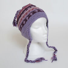 Funky Hand Knitted Winter Woollen Ribbed Peruvian Style Earflap Hat UNISEX REH2