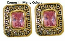 cz cable earrings pink rose white18 kt yellow gold plate two 2 tone quality NWT
