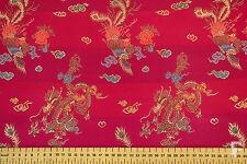 CHINESE BROCADE FABRIC - DRAGON DESIGN - 100% POLYESTER - WIDTH 92CM