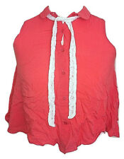 Womens RIVER ISLAND Coral Button Front Sleeveless Crop Blouse Top - UK 10