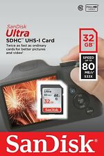 SanDisk Ultra 32GB SD SDHC Flash Memory Card Class 10 80MB/s 533X UHS-I HD