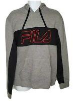 FILA Logo Black Gray Mens Pullover Training Hoodie Drawstrings Hooded Size L NEW