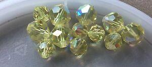 Vintage Swar Crystal Sunshine Yellow Pastel AB Faceted Mix Lantern Crystal Beads