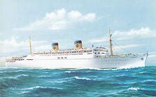 Home Lines Ocean Liner S.S. HOMERIC 1950s Artist Signed Advertising Postcard