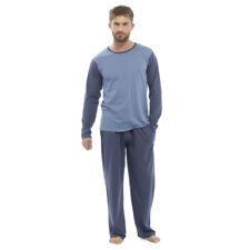 Mens Jersey Long Sleeves Pyjamas PJ Set Top Loungewear Nightwear Two Tone M Black & Dark Grey