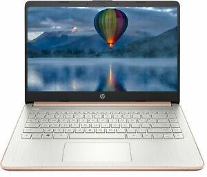 "NEW HP 14"" HD Laptop Intel 2.8GHz 64GB SSD 4GB RAM Win10 Rose Gold BT Webcam"