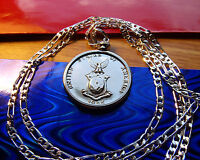 "1944 USA EAGLE PHILIPPINES SILVER MIRROR COIN Pendant on a 28"" 925 Silver Chain"