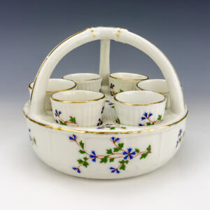 Antique Limoges French Porcelain - Six Egg Cup Stand Eggerie