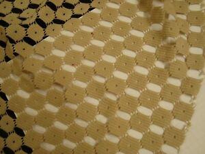 "One yd Belle Maison FABRIC Lace Crochet Bianca Barley beige 54"" x 36"" BTY"