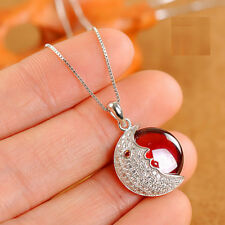 Love Moon Gemstone 925 Sterling Silver Choker Necklace Jewelry Cube Box Chain
