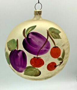 """Vintage 4"""" Christmas Tree Ornament West Germany Frosted With Hand Painted Fruit"""