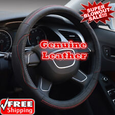 Premuim Cover Geniune Leather Steering Wheel Cover Breathable Black Red stitchin