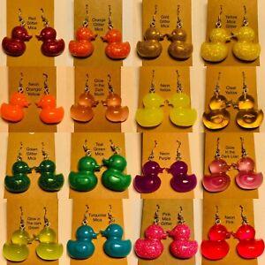 Novelty Resin Duck Earrings Dangle Drop Stirling Silver Hook