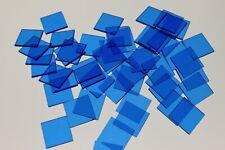 50 x SQUARE TRANSPARENT BLUE COLOUR PLASTIC COUNTER CHIPS - FREE UK POST