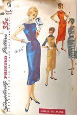 Vtg Wiggle 50S Pattern Simplicity #1301 Size 14 Bust 32 Dress & 4 Way Jumper