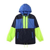 Men's Color Block Lightweight Windbreaker With Hood Zip Pullover Sports Jacket