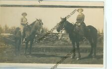 TWO WOMEN ON HORSES-REAL PHOTO-1916-REVA WOLCOTT-AND MAY--(CW-389)