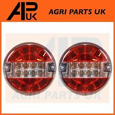 PAIR LED Round Rear Brake Tail Light Lamp Tractor Trailer Bailey Tuffmac AW Kane