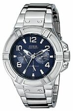 Guess U0218G2 Stainless Steel Strap Blue Dial Sporty Analog Men's Watch